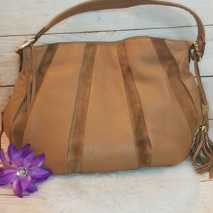 Aimee Kestenberg tan suede leather shoulder purse